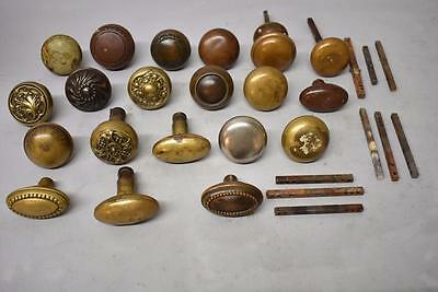Misc Assortment Antique Door Knobs And Spindles Lot Of 29 Pieces