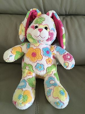 Bunny Rabbit Build A Bear White With Colourful Flower Pattern Soft Plush Toy
