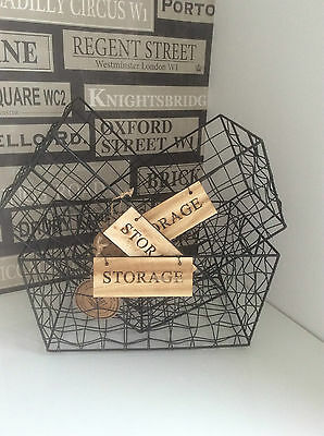 Black Wire Metal Large Storage Basket Industrial Style 3 Sizes Handles Filing