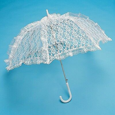 Firefly Imports White Lace Parasol Umbrella for Bride 26-Inch