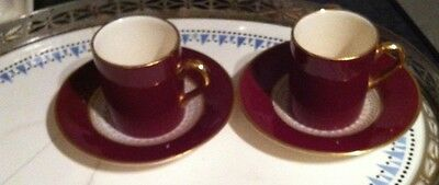SIMPSONS Potters SOLIAN WARE CROBRIDGE 2 Cups Saucers Gold Burgundy Espresso