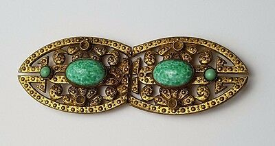 Antique / Vintage - Belt Buckle - Gold Tone With Green Stones - Weight : 13.8g