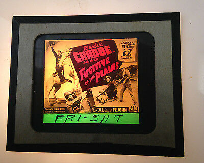 1940S Buster Crabbe Glass Movie Coming Attraction Slide Fugitive Of The Plains
