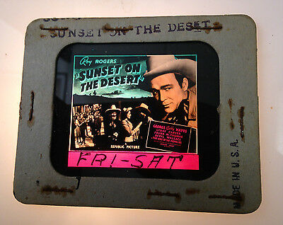 1940S Roy Rogers Glass Movie Coming Attraction Slide Sunset On The Desert