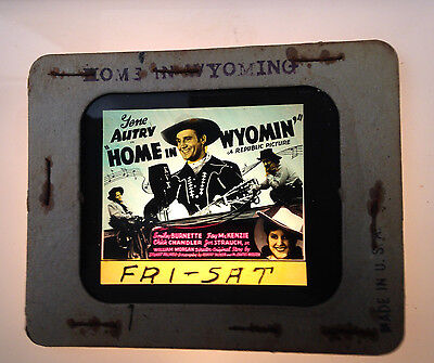 1940S Gene Autry Glass Movie Coming Attraction Slide Home Of Wyoming