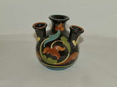 Chocolate Brown Torquay Pottery Udder Vase With Leaf Type Scroll Decoration