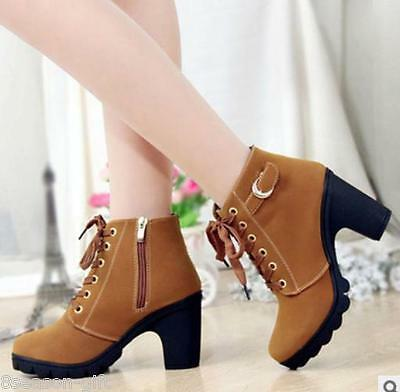 HX 2017 New Winter High Heel Casual Women Shoes Round Head Thicken Ankle Boots
