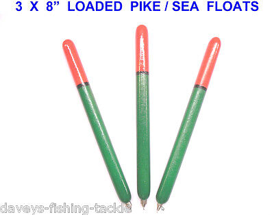"""3 Loaded 8"""" Pencil Pike Floats For Sea Coarse Fishing Deadbait Rigs Wire Traces"""