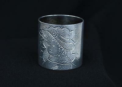 Antique Victorian Silverplated Napkin Ring Engraved Kate Greenaway Girl Mono RAY