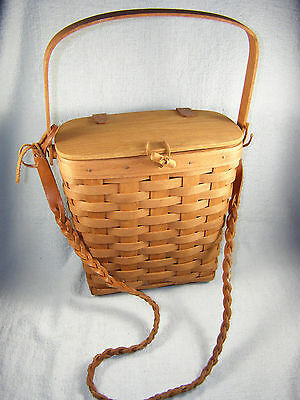 1989 Longaberger Purse Basket w/ Leather Hinged Lid, Braided Strap, Protector
