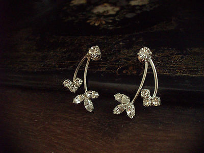 Vintage Clear Marquise Crystal Matt Silver Plated Earrings