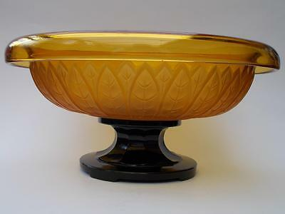 Art Deco Schweig Müller & Co Leaf Pattern Centrepiece Glass Bowl & Stand Plinth
