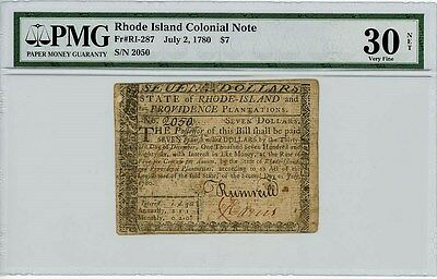 Fr. RI-287 $7 Rhode Island Colonial Note July 2, 1780 VF30 Net PMG