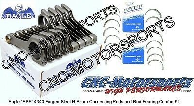 GM LS1 LS2 LS3 LS6 Eagle 6.125 H Beam Connecting Rods w/ Clevite 77 Rod Bearings