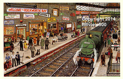 Steam Train in Railway Station - Signed Limited Edition Print, Lewis C Bennett