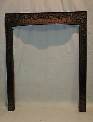 Antique Cast Iron Victorian Hooded Fireplace Surround Floral 24.5 X 30.25""