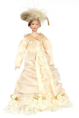 Dollhouse Miniature Doll Mother Victorian Porcelain Daisies on Dress 1:12 Scale