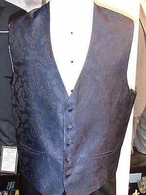 Men's Formal Tuxedo Vest style Celebrity Paisley color Blue made by Andrew Fezza