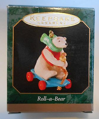 "1999 Hallmark Miniature Ornament ""Roll-a-Bear"" Bear on Cart MIB"