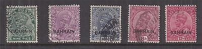 BAHRAIN, 1933 on India KGV 9p., 1a.3p., 3a. 6p., 8a. & 12a., used..