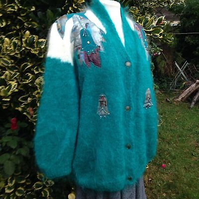 Vintage Green Mohair Cardigan Lined L XL 1980s Hand Knitted