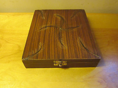 Unusual Wooden Box Holds Poker Chips, Lined in Black
