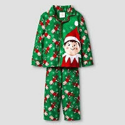 Toddler Boys' 2-Piece Elf on the Shelf® Green Coat Pajama Set Sz 2T NWT