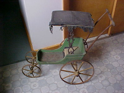 Antique Victorian Doll Carriage Buggy,Green Original Painted Wood,Spoke Wheels