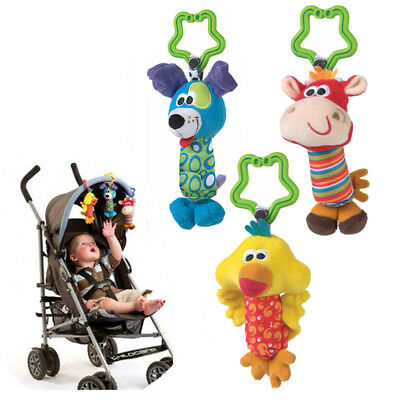 Baby Kids Soft Developmental Toy Animal Handbells Rattles Car Bed Stroller Bells