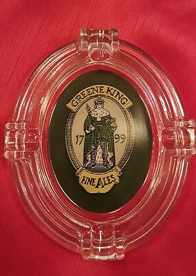 "Vintage ""greene King"" Fine Ales Glass Ashtray"
