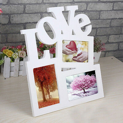 New Durable Lovely Hollow Love Wooden Photo Picture*Frame Rahmen DIY Home Decor