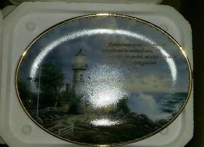 """Thomas Kinkade Collector plate """"A light in the storm"""" Guiding Light's series"""