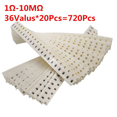 1206 SMD//SMT Resistors Kit 1Ω to 10MΩ Values 36 Mixed Packaging Total 520Pcs 5/%