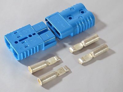 "2 CONNECTORS w/CONTACTS #2AWG SB175 ANDERSON BLUE 3""X2""X1"" WINCHES QUAD"