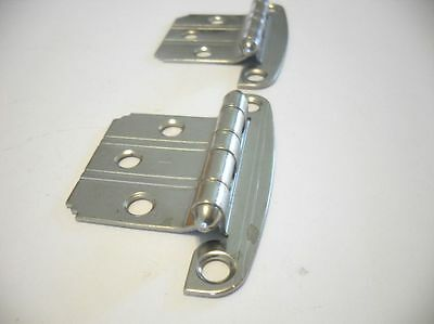 Vtg NOS CHROME Cabinet flush HINGES Lines Stripes Grooves art deco step corners