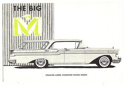 1956 Mercury The Big M Commuter 4-Door Station Wagon Dealer's Advertising Card
