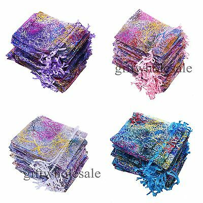 50/100 Sheer Coralline Organza Jewelry Pouch Wedding Party Favor Gift Bags