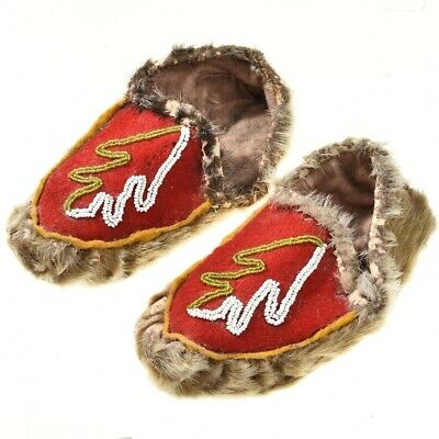 """10"""" Cowhide Leather Beaded Moccasins Cold Weather Vintage Mid Century c1950s"""