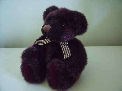 """Lovely Russ Berrie """"winslow"""" Item No 2812 Purple Plush With Bow Approx 6 Inches"""