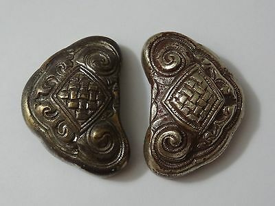Antique Mongolian Hand Hammered  Pair Of Copper Saddle Ornaments