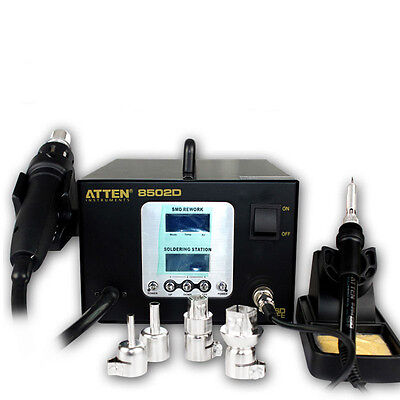 2in1 Hot Air SMD Rework & Soldering Station Iron Lead-free Dual LCD Atten AT8502