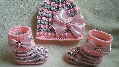 Baby Bling Romany Style Hand Knitted  Booties and Hat  newborn to  3 months