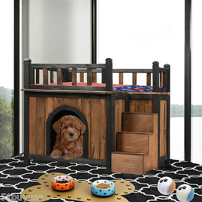 Rustic Solid Wood Kennel Pet House Wooden Dog Shelter Cabin Rooftop Balcony