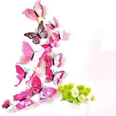 12 PCS Butterfly Fridge Magnets 3D Room Wall Decorations Magnetic Sticker Rosy