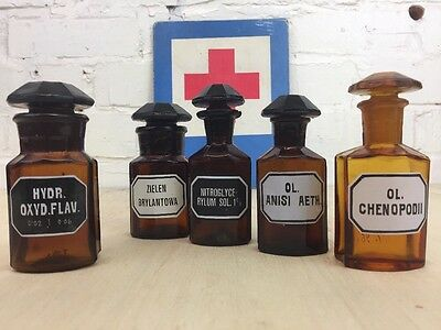 Set Of Five Pharmacy Bottles Brown Apothecary Chemist Jars 80Ml Made In Germany