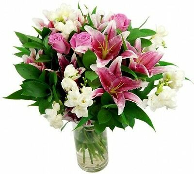 Clare Florist Cascade Fresh Flower Bouquet - Lovely Pink Lilies And Roses With