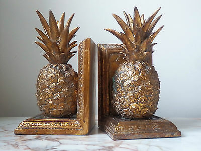 A Pair Of Aged Antique Gold Pineapple Fruit Bookends