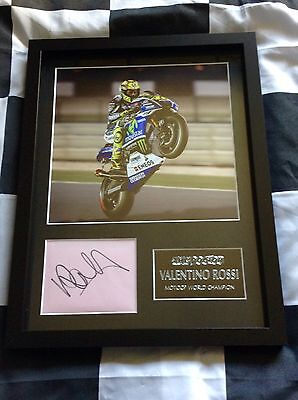 Valentino Rossi Genuine Signed Photo Display With Plaque, Moto GP, The Doctor,