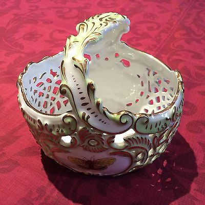 Herend handpainted pierced victoria pattern basket in perfect condition