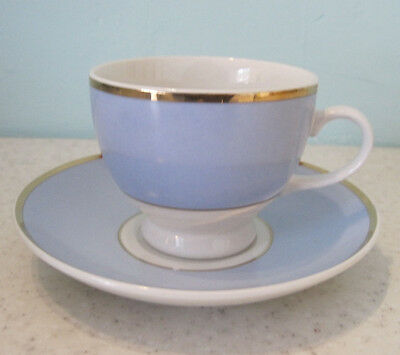 3 Royal Doulton Cups And Saucers Blue White Gold Tableware Bruce Oldfield